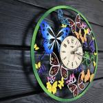 """Кольоровий настінний годинник з дерева """"Вальс метеликів"""" - image-1"""