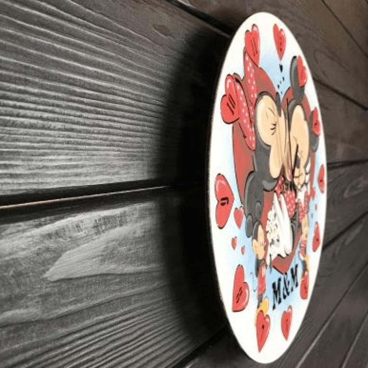 """Круглий безшумний настінний годинник """"Міккі та Міні Маус"""" - image-1"""