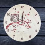 """Дерев'яний годинник ручної роботи """"Сова"""" - image-0"""