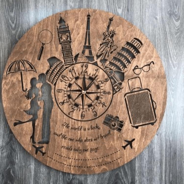 """Безшумний настінний годинник з дерева """"Мандри"""" - image-0"""