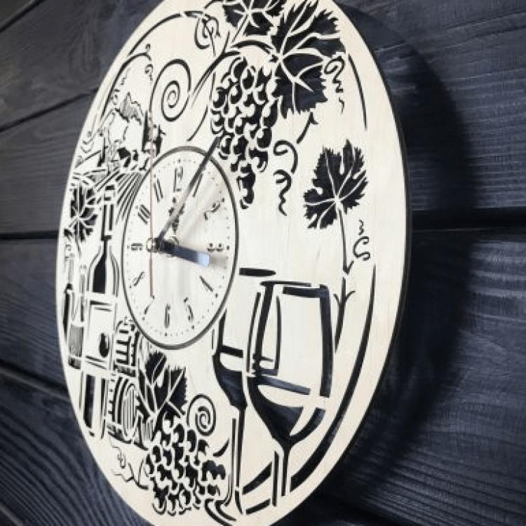 """Безшумний настінний годинник з дерева """"Вино"""" - image-1"""