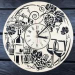 """Безшумний настінний годинник з дерева """"Вино"""" - image-0"""