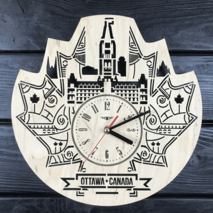 """Настінний годинник з дерева """"Оттава, Канада"""" - image-0"""