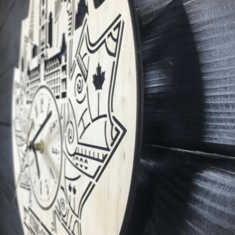 """Настінний годинник з дерева """"Оттава, Канада"""" - image-1"""