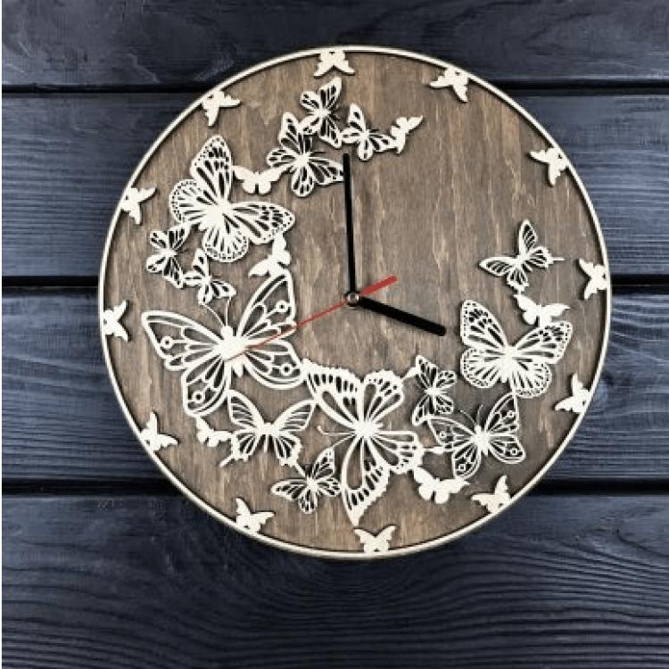 """Дерев'яний настінний годинник  """"Метелики"""" - image-0"""