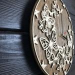 """Дерев'яний настінний годинник  """"Метелики"""" - image-1"""