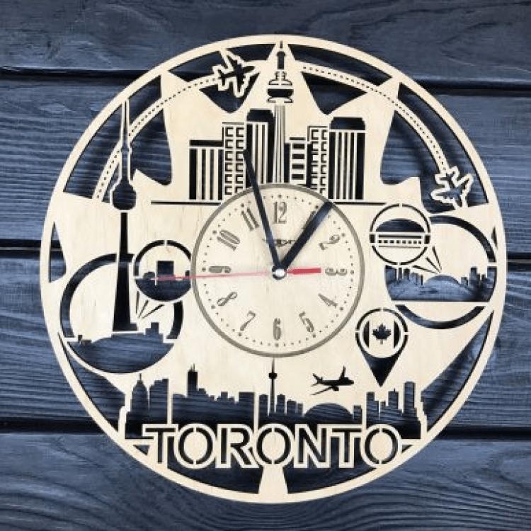 """Дерев'яний настінний годинник  """"Торонто, Канада"""" - image-0"""
