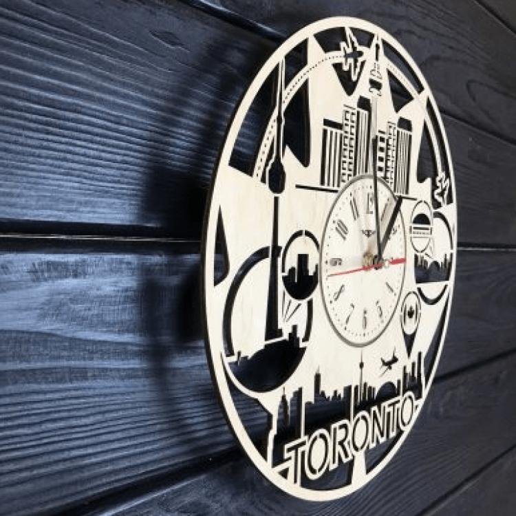 """Дерев'яний настінний годинник  """"Торонто, Канада"""" - image-1"""