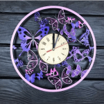 """Дерев'яний настінний годинник з ультрафіолетом  """"Вальс метеликів"""" - image-0"""