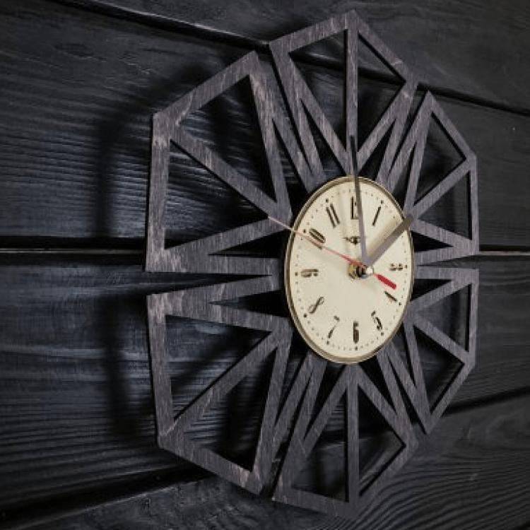 """Дерев'яний настінний годинник  """"Геометрія"""" - image-1"""