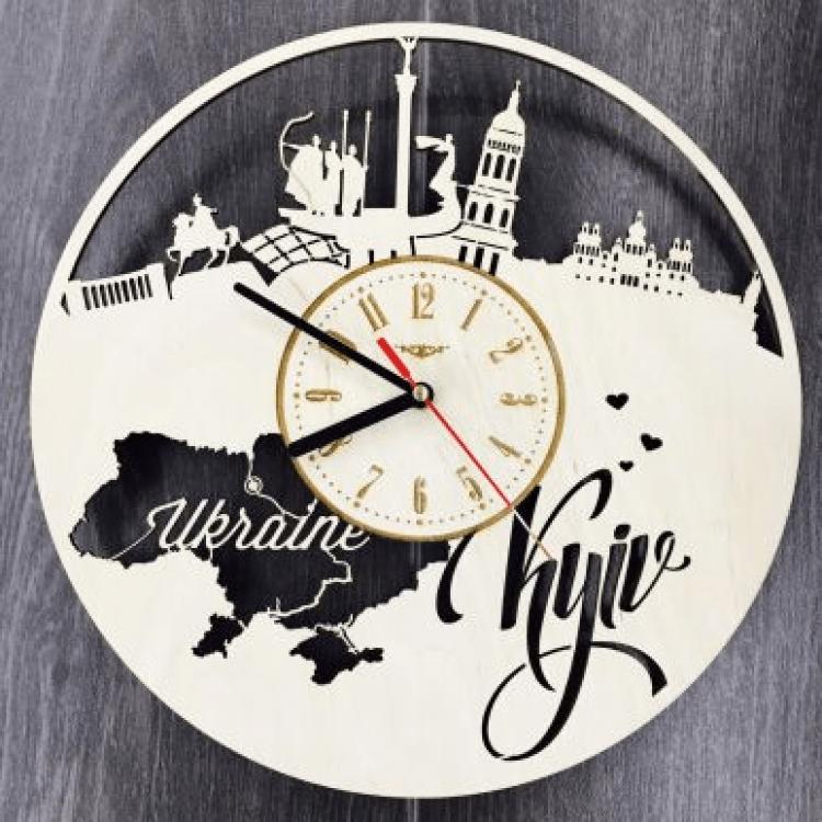 """Настінний годинник з дерева """"Київ"""" - image-0"""