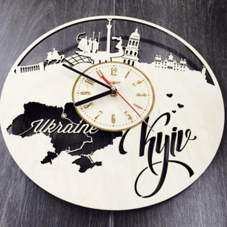 """Настінний годинник з дерева """"Київ"""" - image-1"""