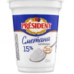 Сметана President, 15% жиру, 350 г - image-0