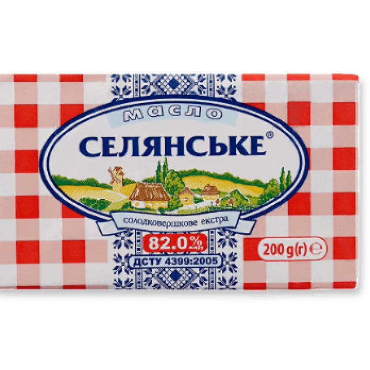 Масло солодковершкове «Селянське» 82%, 200 г - image-0