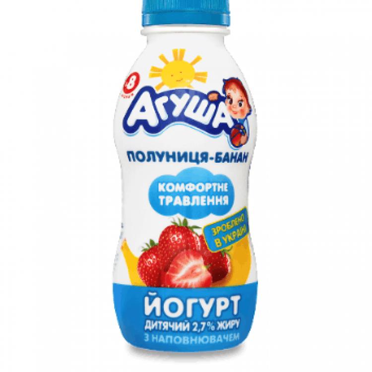 Йогурт «Агуша» дитячий полуниця-банан, 200 г - image-0