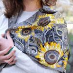 """Хустка """"Соняшники"""". Срібна, 90х90 см - image-0"""
