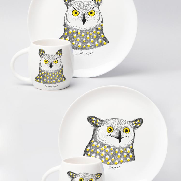 """Набір тарілок та чашок """"Сова"""" - image-0"""
