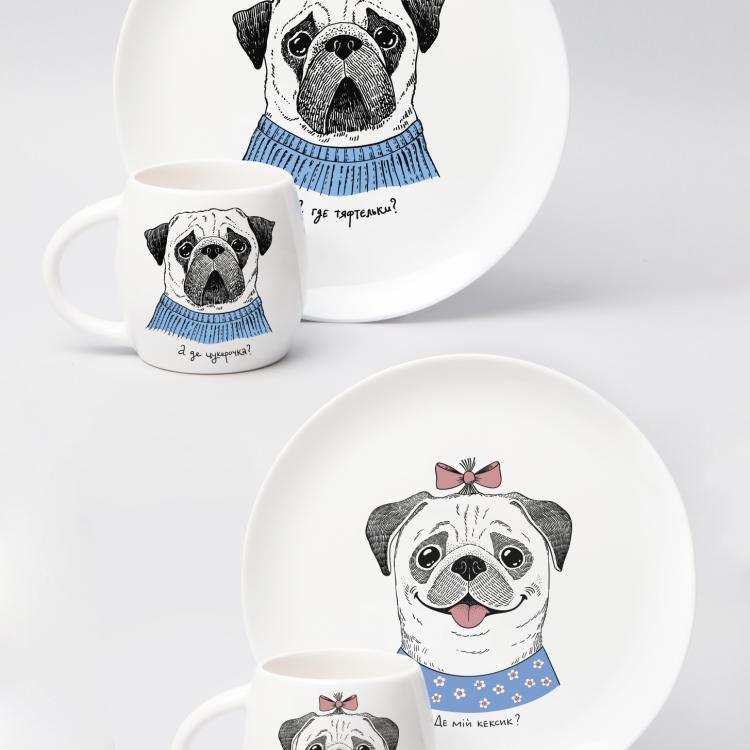 "Набір тарілок та чашок ""Мопс"" - image-0"