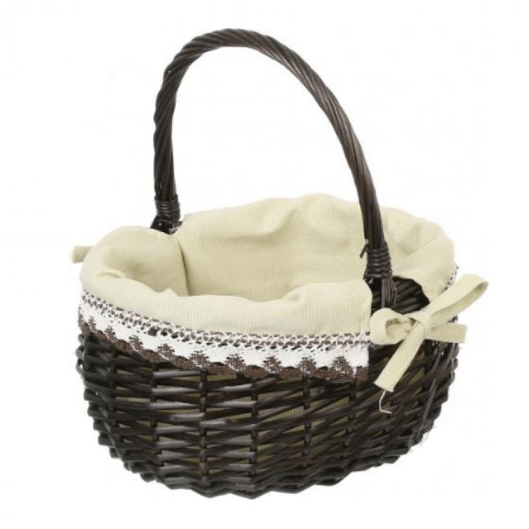 Корзина плетена з текстилем, 29х22х17/33 см - image-0