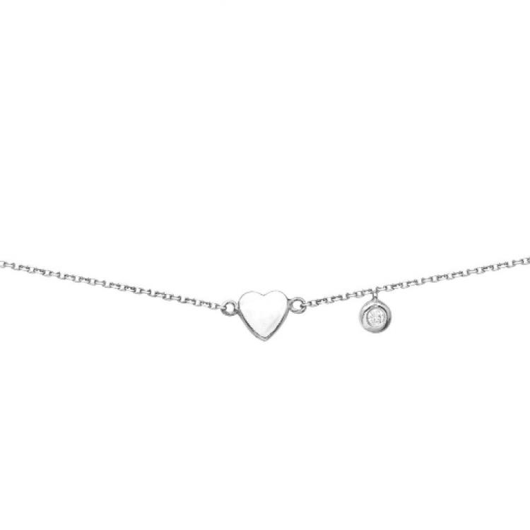 """Браслет срібний """"Серце і циркон"""" - image-2"""