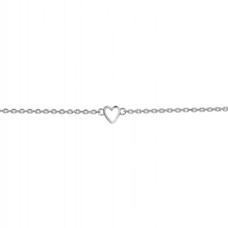 "Браслет срібний ""Маленьке серце"", біла емаль - image-0"