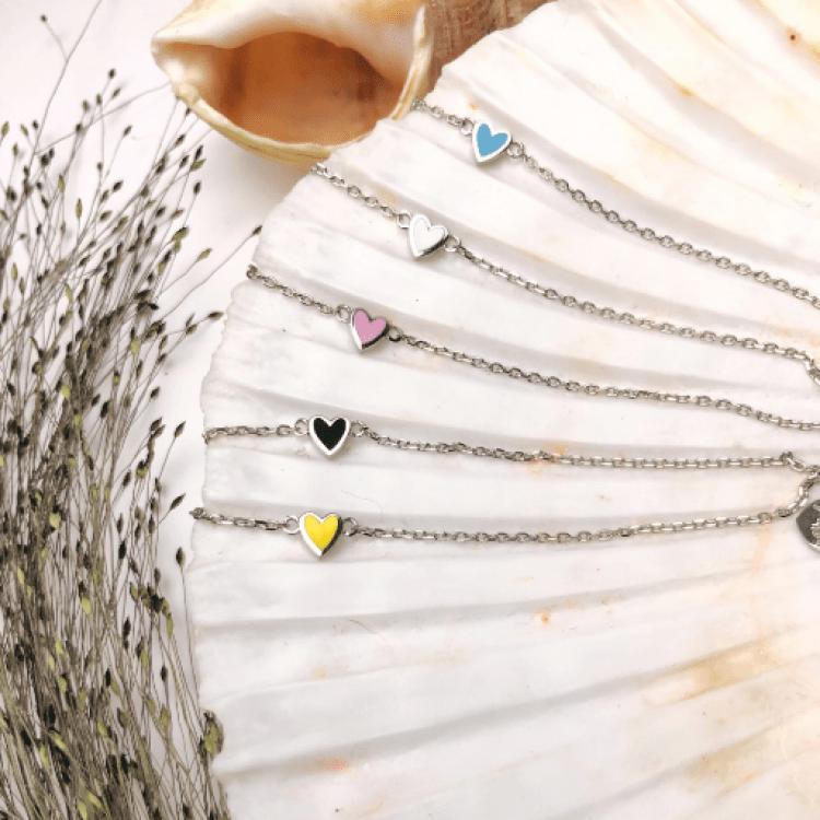 "Браслет срібний ""Маленьке серце"", біла емаль - image-3"