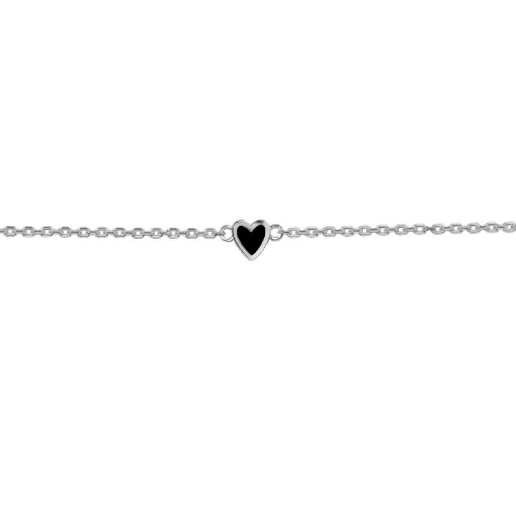 """Браслет срібний """"Маленьке серце"""", чорна емаль - image-1"""