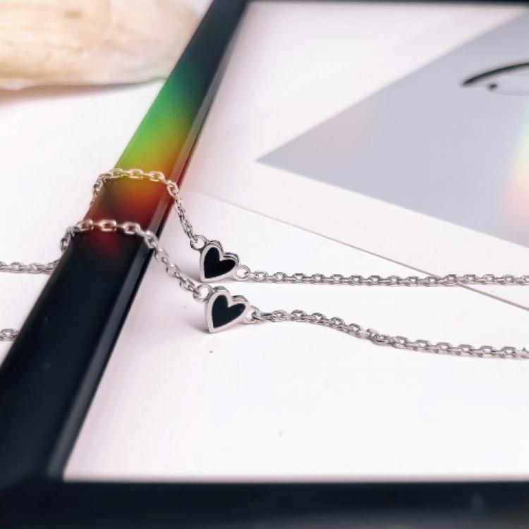 """Браслет срібний """"Маленьке серце"""", чорна емаль - image-2"""