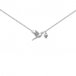 """Срібний ланцюжок """"Пташка з серцем"""" - image-1"""