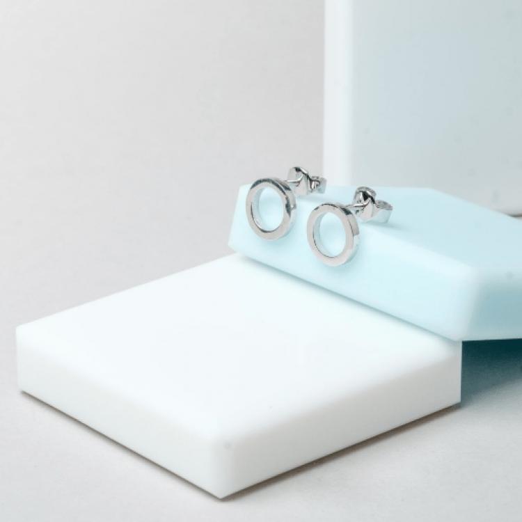 """Срібні сережки """"Коло"""", 7 мм - image-3"""