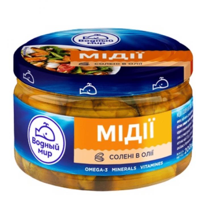 """М'ясо мідії """"Водный Мир"""" в олії, 200г - image-0"""