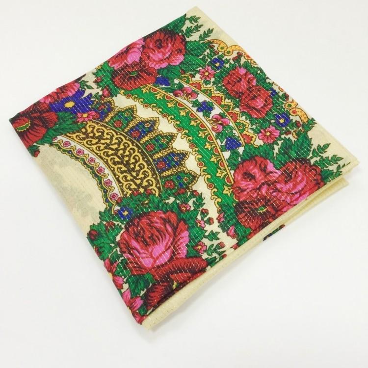 Хустка кремова з квітами з люрексом UH-1050 - image-1