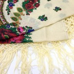 Хустка кремова з квітами з люрексом UH-1050 - image-0