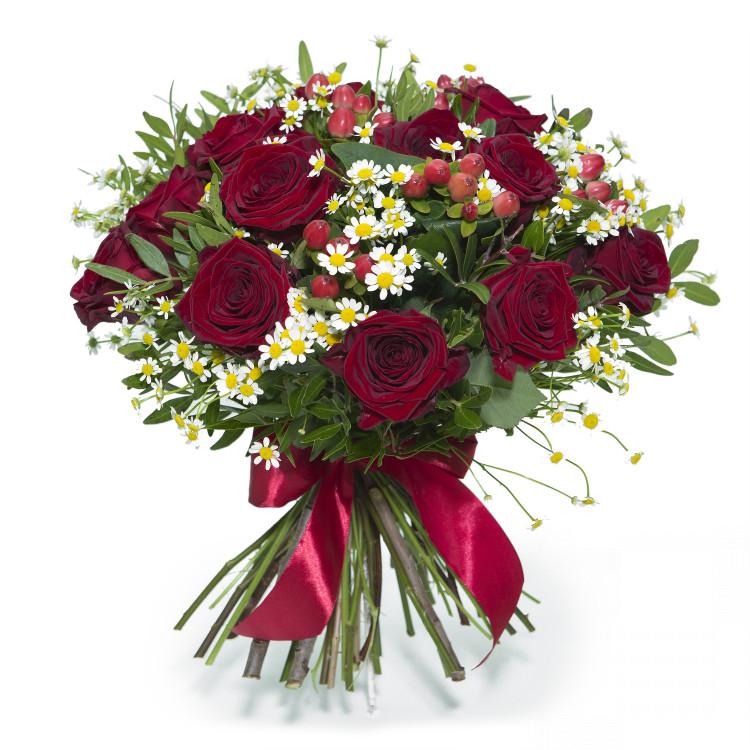 Букет троянди в ромашках - image-0
