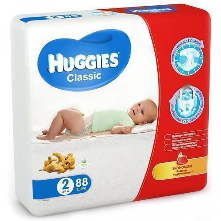 Підгузки Huggies Classic Mega р.2 (3-6 кг) 88 шт - image-0