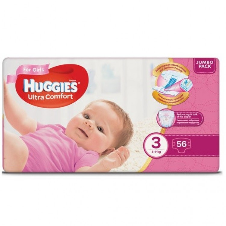 Підгузки Huggies Ultra Comfort Jumbo р.3 (5-9 кг для дівчаток 56 шт - image-0