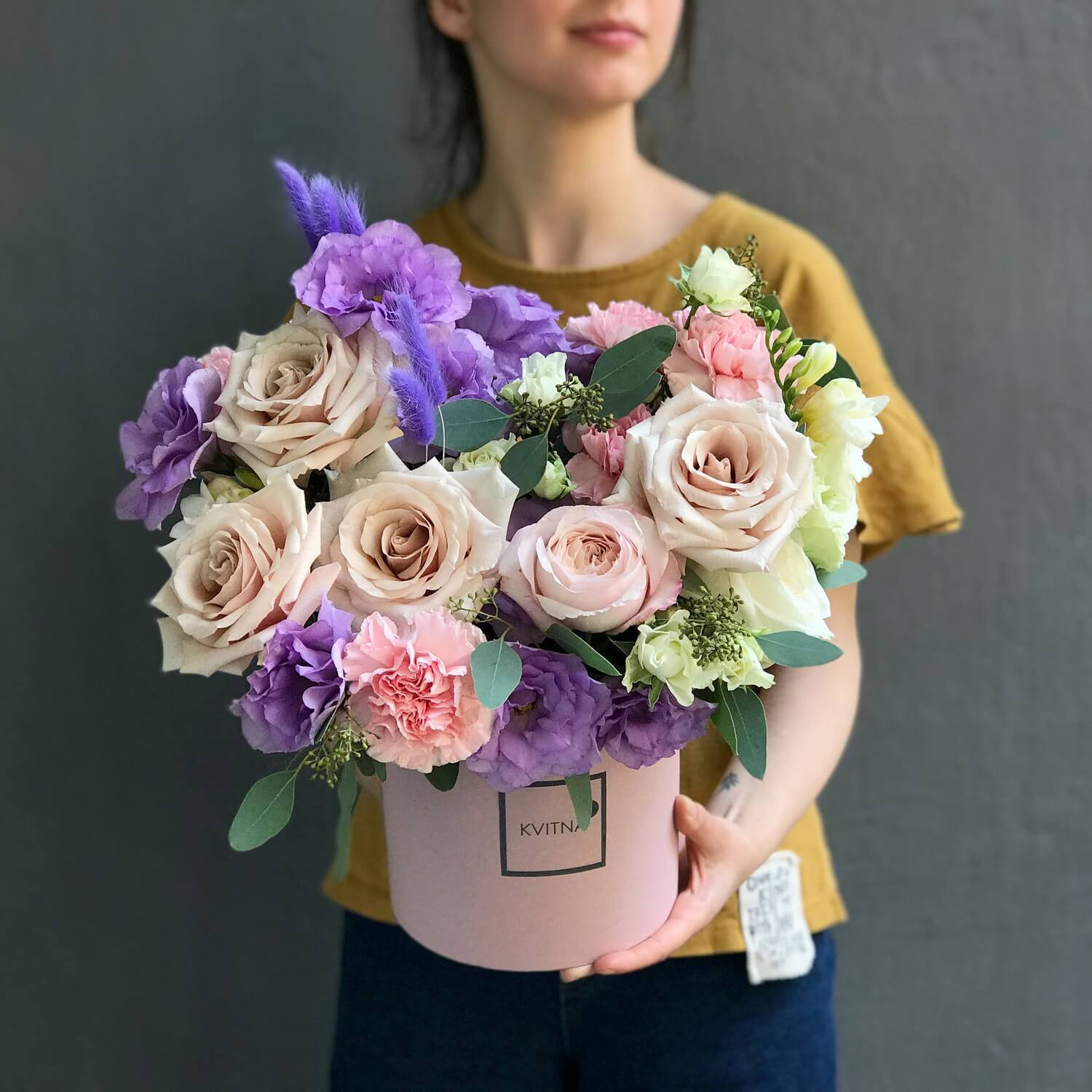 bouquet of flowers in a box